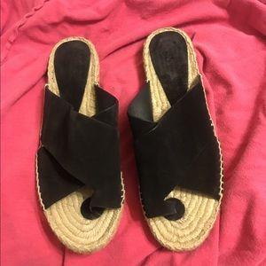 Size 8 VINCE black suede espadrilles sandals